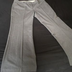 Grey on grey pinstripe fall weight trousers